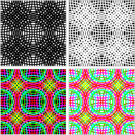 Abstract seamless Pattern of set of colorful Rings in four variants.  Vector