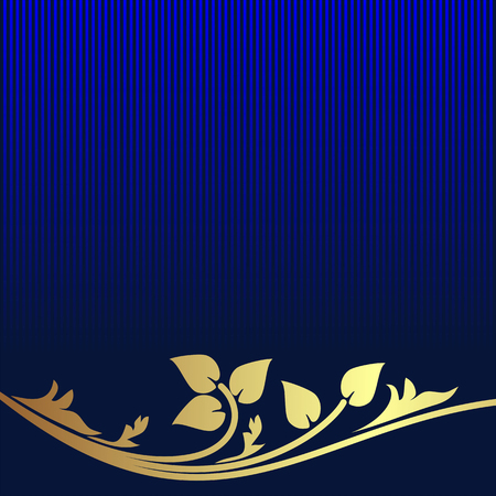 Navy blue Background decorated the golden floral Border.