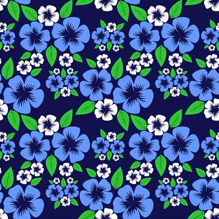 greener: Seamless flower Pattern on dark blue.