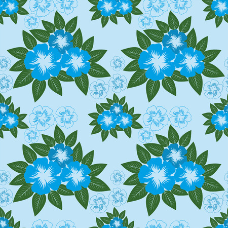 greener: Seamless Pattern with blue Flowers. Stock Photo