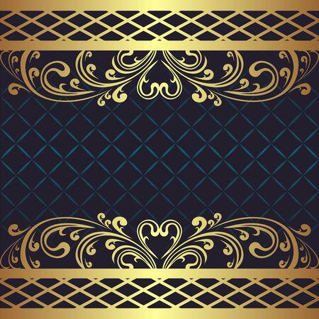 regency: Luxury dark blue Background with golden floral Borders. Stock Photo