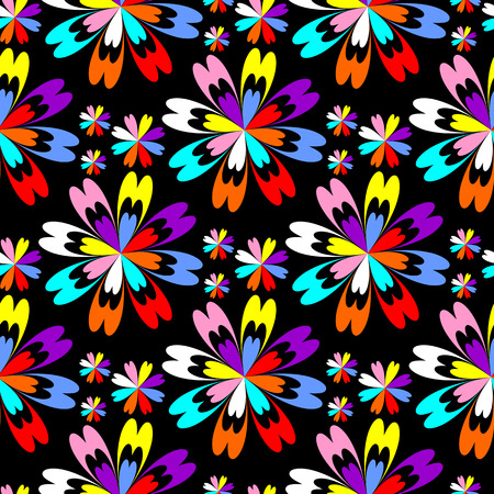 Bright flower seamless Pattern with colorful Flowers on black Stock Photo