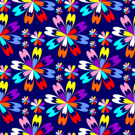 greener: Bright flower seamless Pattern with colorful Flowers on blue.
