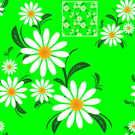 Flower seamless Pattern with Camomiles on green.