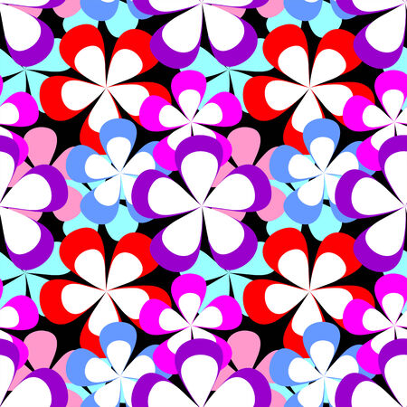 Abstract seamless Pattern with colorful Flowers on black.
