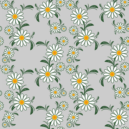 Flower seamless Pattern with Camomiles on gray.