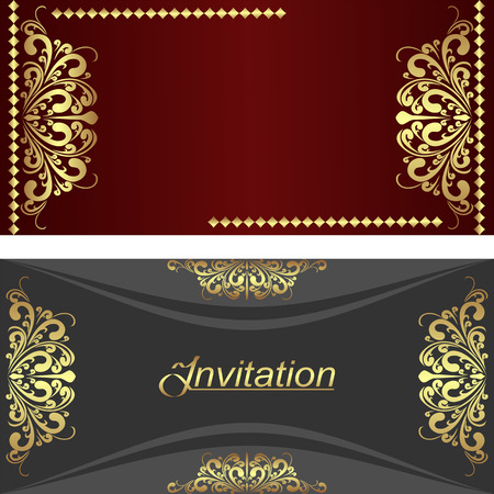 grizzle: Elegant invitation Cards with golden royal Elements.