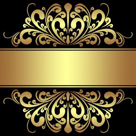 regency: Elegant Background with royal golden Borders and Ribbon.
