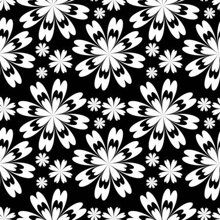 greener: Seamless flower Pattern - black and white. Stock Photo