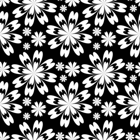 Seamless flower Pattern - black and white. Stock Photo