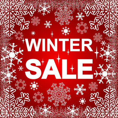 Winter Sale on the red Background. photo