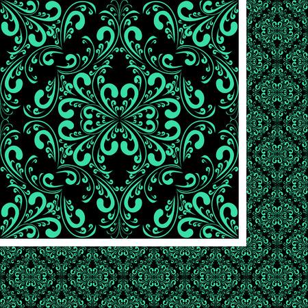 regency: Turquoise seamless damask Pattern on black. Stock Photo