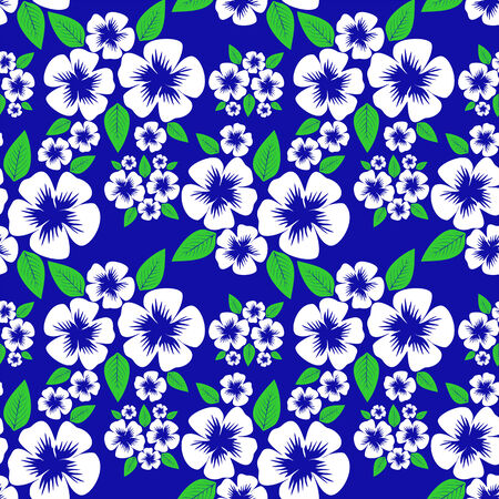 Flower seamless Pattern on blue.