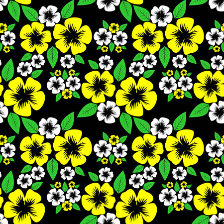 greener: Flower seamless Pattern with white and yellow Flowers on black.
