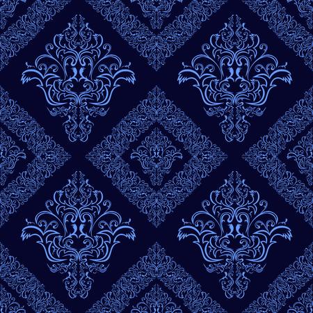 luxurious seamless wallpaper: Dark blue ornamental seamless damask Pattern.