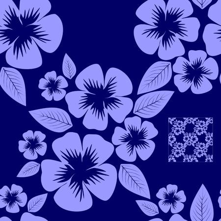 greener: Blue seamless flower Pattern.