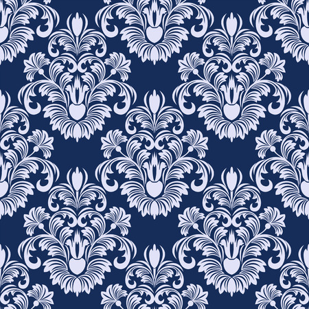 Seamless damask floral Pattern in blue colors.