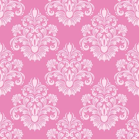 レトロなピンク シームレスなダマスク織の壁紙  イラスト・ベクター素材