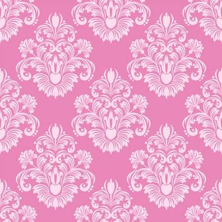 Retro pink seamless damask Wallpaper