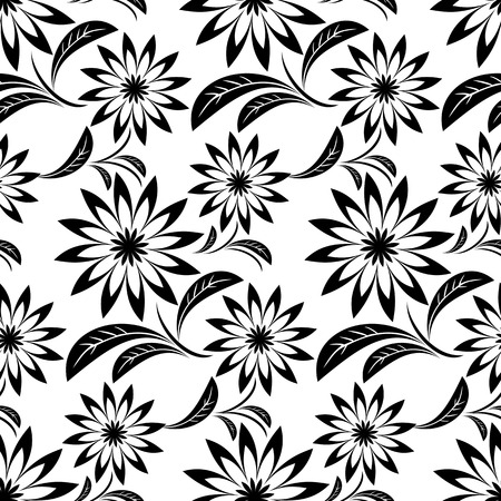 Black ornamental Flower Pattern on white