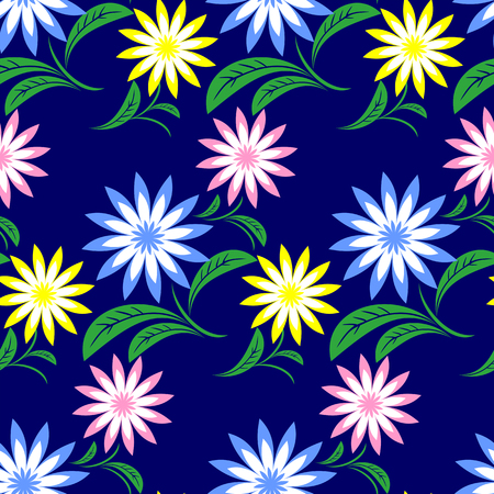 greener: Flower seamless Pattern with colorful Flowers on blue.