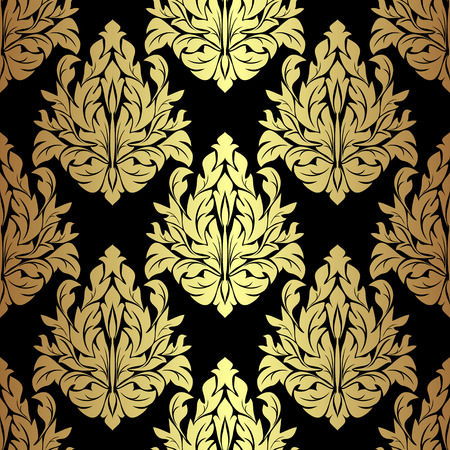 Golden floral seamless Pattern on black. Vector
