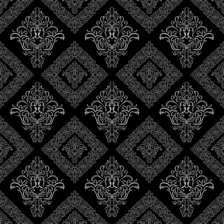 rich black wallpaper: Seamless damask floral geometric Wallpaper - gray and black color