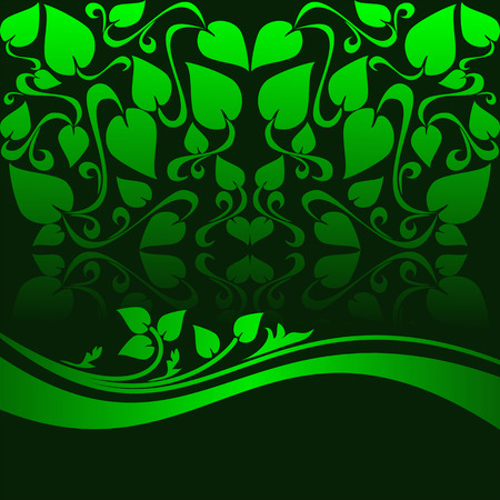 Green ornamental Background decorated the floral Border. Vector