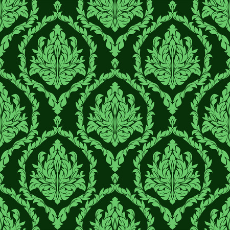 Rich damask seamless floral Wallpaper in green colors Vector