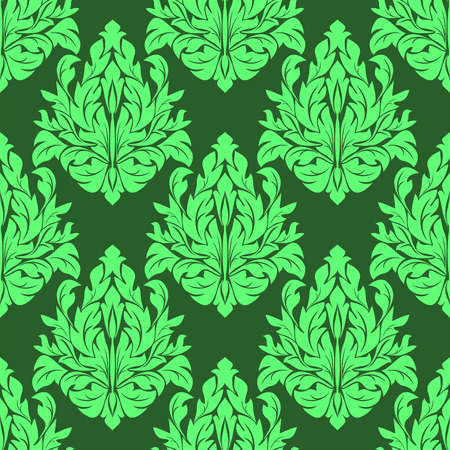 Seamless damask floral Pattern in green colors. Vector