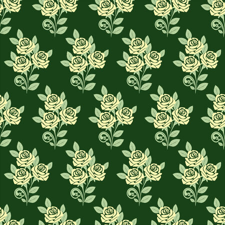 Seamless Pattern with Roses on green Vector