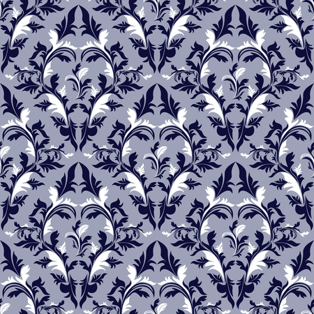 Seamless damask floral Wallpaper - blue and white colors. Vector