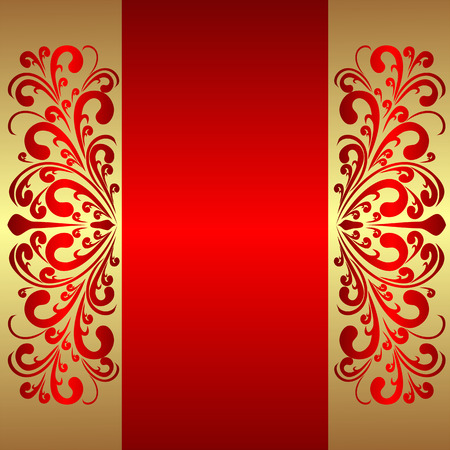 royal background: Elegant red Background with royal Borders. Illustration