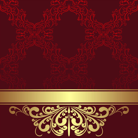 regency: Red ornamental Background with golden Border and Ribbon. Illustration
