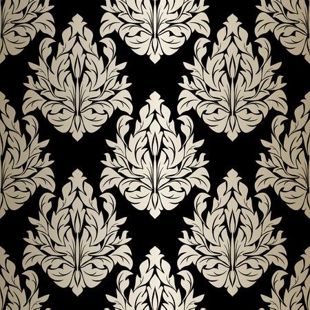 luxurious seamless wallpaper: Seamless damask Wallpaper - silver Ornament on black. Illustration