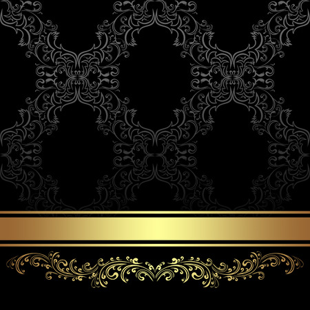 Luxury Background with golden floral Border and Ribbon.