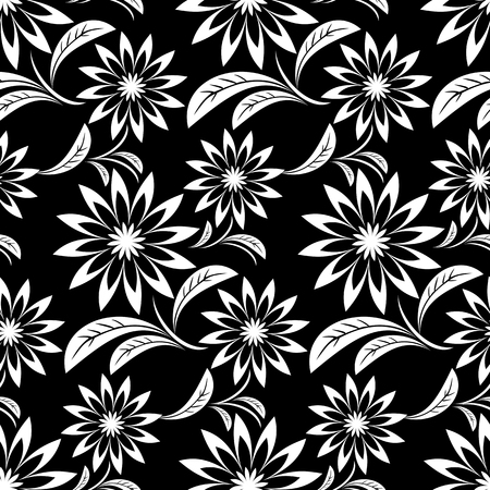 greener: Seamless white abstract flower Pattern on black Illustration