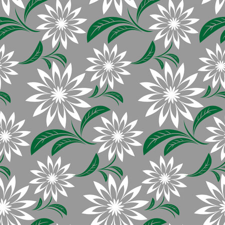 Seamless abstract flower Pattern on gray