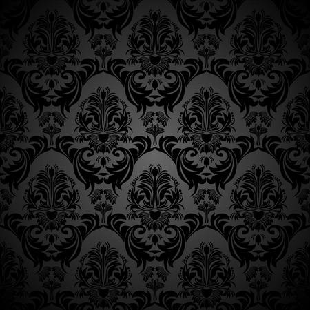 papier peint noir: Seamless damass� florale Fond d'�cran noir pour la conception