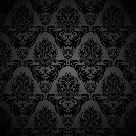 rich black wallpaper: Seamless floral damask black Wallpaper for design
