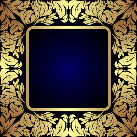 Luxe gouden bloemen Etiket op donkerblauw.