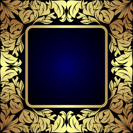 Luxury golden floral Label on dark blue.