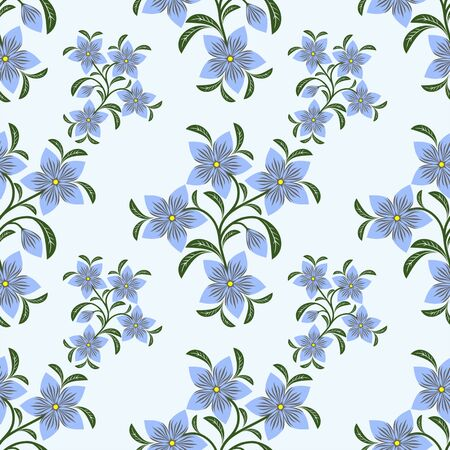 Flower seamless Pattern with blue Flowers.