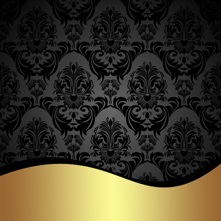 gold swirls: Elegant charcoal damask Background with golden border.