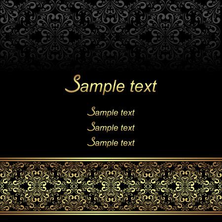Black ornamental Background with golden ornate Border. Illusztráció