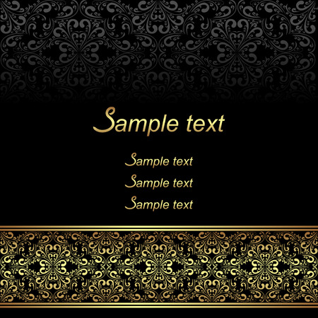 Black ornamental Background with golden ornate Border. Illustration