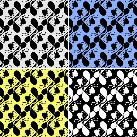 irregular shapes: Seamless abstract Pattern with irregular Shapes in four variants Illustration