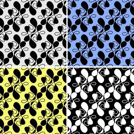 irregular shapes: Seamless patr�n abstracto con formas irregulares en cuatro variantes Vectores