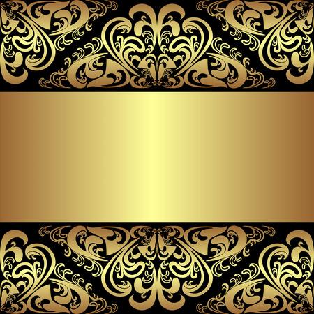 fondo elegante: Lujo fondo negro con las fronteras reales de oro y la cinta