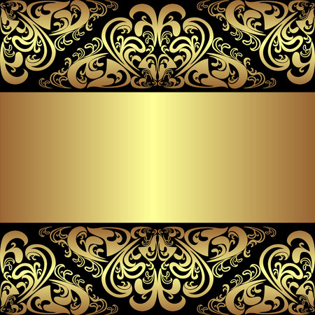Luxury black Background with golden royal Borders and Ribbon Illustration